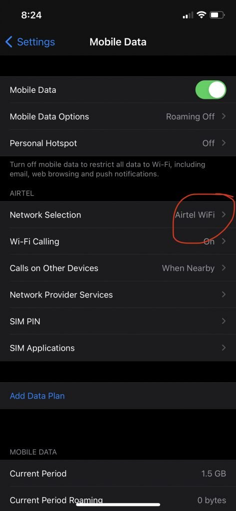 Enabling Wifi calling if available.