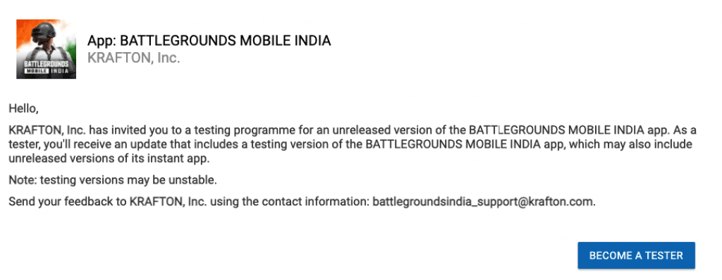 Battlegrounds Mobile India Early Access BGMI APK Download