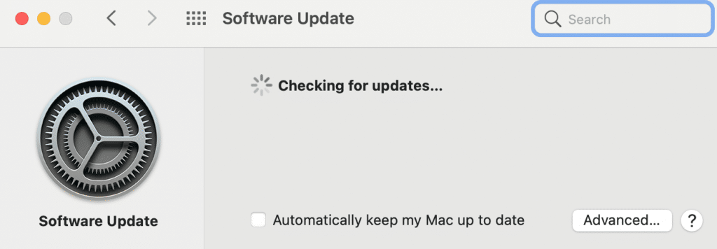 Checking for updates in Macos Monterey