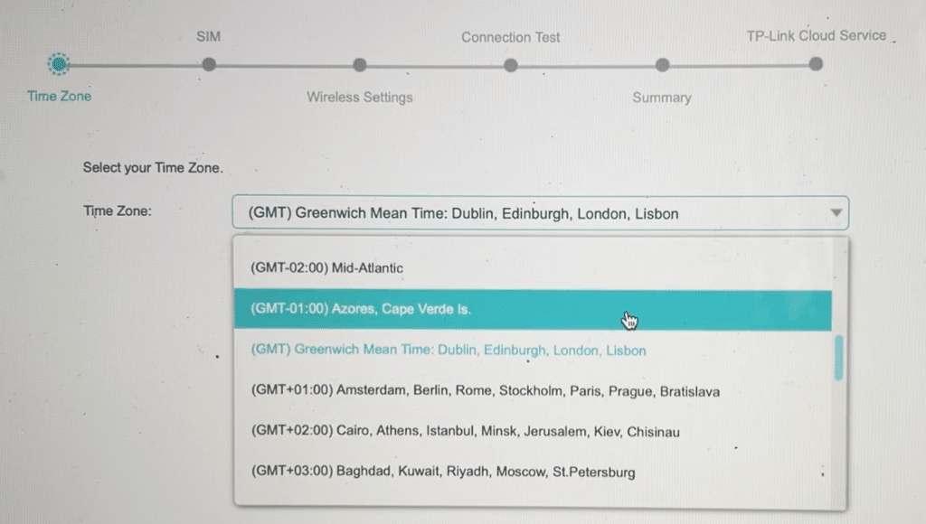 Time zone selection in TP-Link TL-MR6400